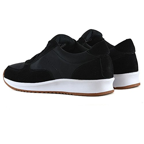 Walking Trainer Lace Sneakers Casual Fitness GLAM ESSEX Womens Black Shoes Up Gym wZqzRApYx