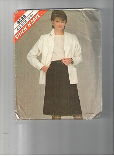 Mccalls 8638 Sewing Pattern for Misses Size 134-16-18, Patch Pocket Notched Collar Jacket, with Slim Back ZIP Back-vent Inset-pocket Skirt Pleated Into Waistband