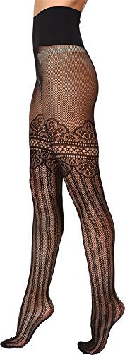 Commando Women's Colette Faux Thigh-High Tights HN023 Black Pantyhose (Raw Edge Thigh High compare prices)