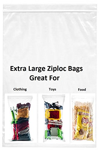 Shiny Select 100 Count 5 gallon 18x24 Extra Large Roaster 2 mill Heavy Duty Clear Zip & Lock Storage Bags, Jumbo Size, Great for Freezer or Storage (100 Count) (Zip Lock Bags For Clothes)