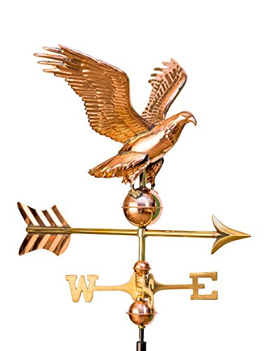 East Coast Weathervanes and Cupolas Garden Eagle Weathervane Polished Copper (W/ Roof Mount)