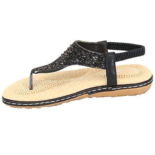Fête Sandales Noces À Tong Diamant 75937 Noir Femmes Facile Arrière Bride Chaussures De Enfiler 4xRzaB