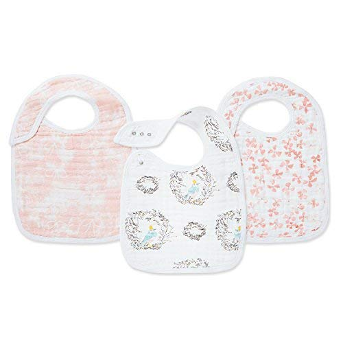 aden + anais Classic Snap Bib, 100% Cotton Muslin, Soft Absorbent 3 Layers, 3-Pack, Adjustable, 9