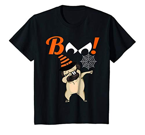 (Kids Youth Boo Dabbing Halloween TShirt Pug Witch Party)