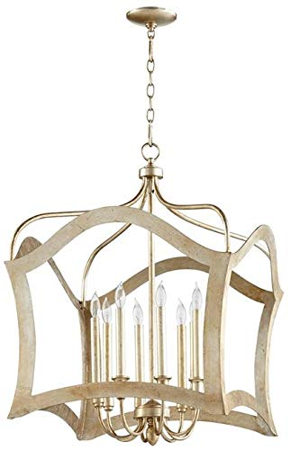 Cyan Design Pendant Chandelier Milan 8-Light Aged Silver Leaf Gold Iron