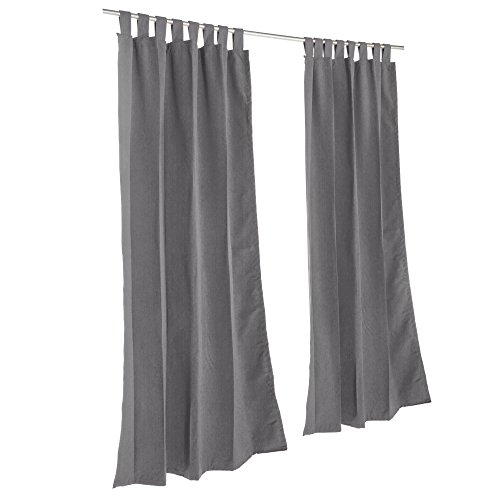 Essentials by DFO Charcoal Sunbrella outdoor curtain with tabs 108 long by Essentials by DFO
