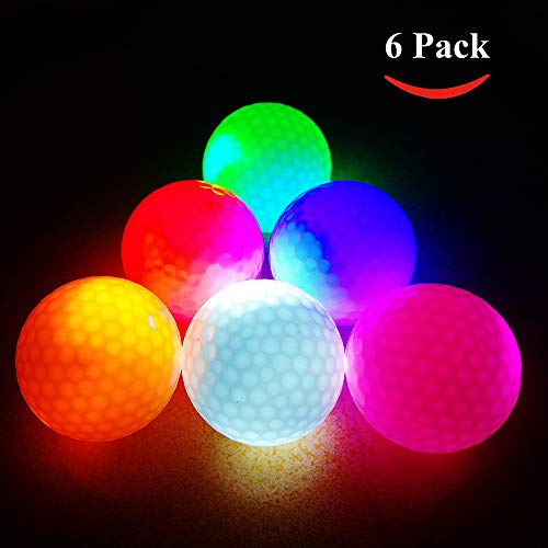 LED Glow Golf Balls, Personalized Practice Light up Golf Ball Glow in Dark for Women Men, Colored Novelty Funny Night Golf Balls Bulk (Pack of 6)
