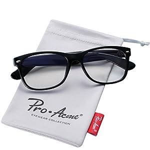Pro Acme Retro 80' Wayfarer Clear Lens Glasses Vintage Hipster Nerd Eyeglasses (Bright Black)