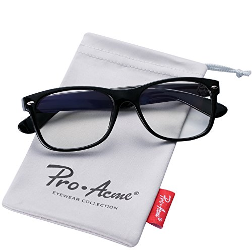 Pro Acme Retro 80' Wayfarer Clear Lens Glasses Vintage Hipster Nerd Eyeglasses (Bright - Glasses Geek Clear Lens