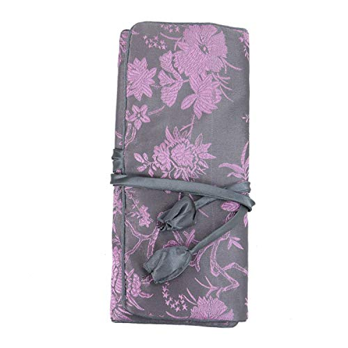 Monrocco Silk Jewelry Roll, Travel Embroidery Brocade Jewelry Organizer Case with Tie Close
