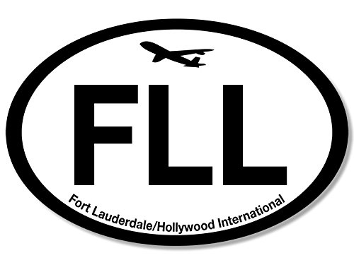Oval FLL Fort Lauderdale Airport Code Sticker (jet fly air hub pilot - Airport Lauderdale Fort