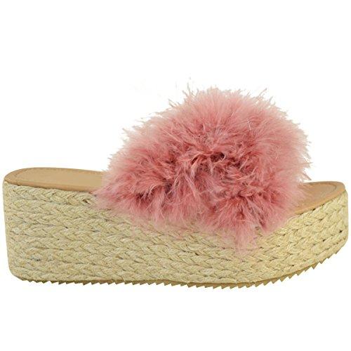 Moda Thirsty Mujeres Alpargatas Slip On Sandals Marabou Flatforms Zapatos Tamaño Pastel Pink Faux Marabou