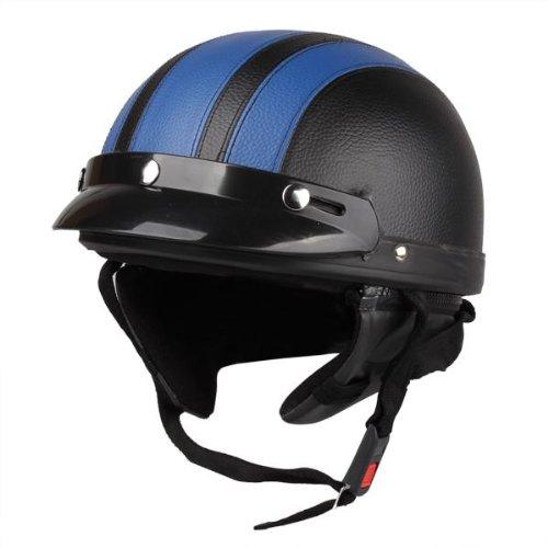 Zimo® Moto Scooter rivestiti in similpelle Casco mezzo casco protezione casco–casco per moto casco lotta + occhiali di protezione blu nero Zimo®
