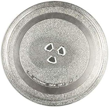 Plato de cristal universal para microondas resistente y duradero, soporte de triángulo aplicable (245 mm, plano)