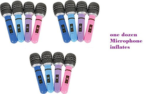 RIN (12) Assorted Colorful 30'' Inflatable Microphones ~ Music Birthday Party Accessory Decor Favor ~ DJ Dance Club ~ BFF Sleepover Prize