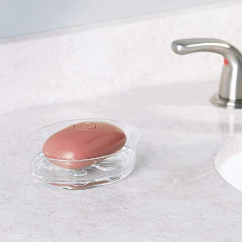 InterDesign Eva Bar Soap Dish for Bathroom Vanities, Kitchen Sink - Clear