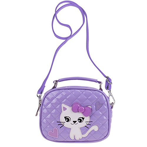 Ava & Kings Quilted Glossy PU Leather Cross body Bag Purses for Children & Little Girls - Light Purple w/ White Kitty Cat (Top Quilted Handbag Zipper)