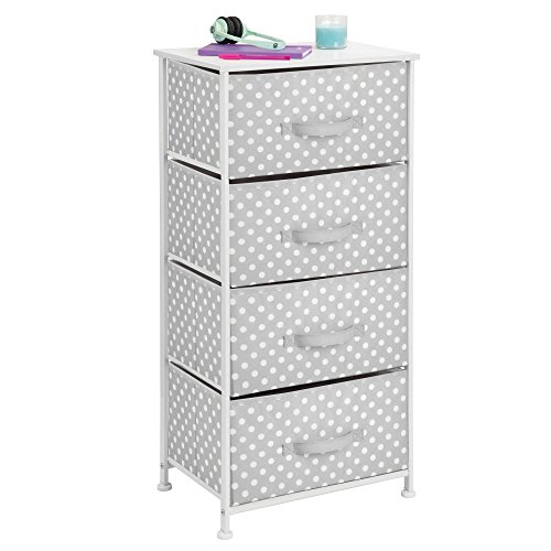 mDesign 4-Drawer Vertical Dresser Storage Tower - Sturdy Steel Frame, Wood Top and Easy Pull Fabric Bins - Multi-Bin Organizer Unit for Child/Kids Bedroom or Nursery - Light Gray with White Polka Dots by mDesign (Image #2)