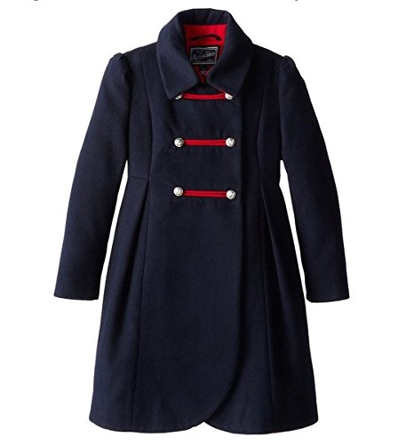 Rothschild Big Girls' Faux Wool Petal Front Military Coat, Midnight, 16 -
