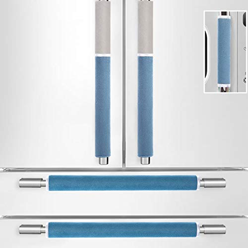 MRKG. Refrigerator Door Handle Covers, Set of 5, Washable without Fading, Keep Your Kitchen Appliance Clean from Smudges, Drips, Food Stains, Oil, 15.6x 5.7 inches, 6x3.5 inches (Blue&Grey)