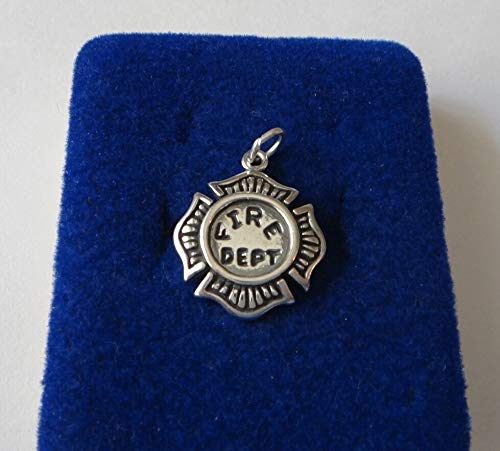 Sterling Silver 19x16mm Firemans Firefighter Badge Charm Jewelry Making Supply, Pendant, Sterling Charm, Bracelet, Beads, DIY Crafting and Other by Wholesale -