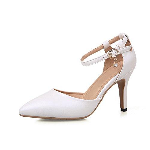 Amoonyfashion Mujeres High Heels Material Suave Solid Hebilla Cerrada Sandalias De Punta Blanca