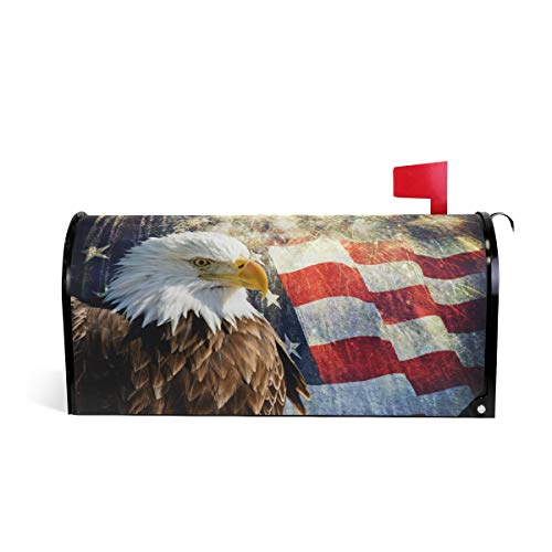 (WOOR Eagle and American Flag Magnetic Mailbox Cover MailWraps Garden Yard Home Decor for Outside Standard Size-18