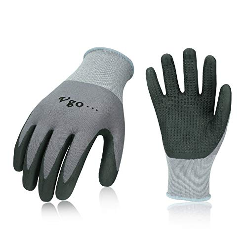 Vgo 3Pairs Super Light Micro Foam Nitrile Coating Gardening and Work Gloves (Size L,Grey,NT5148)