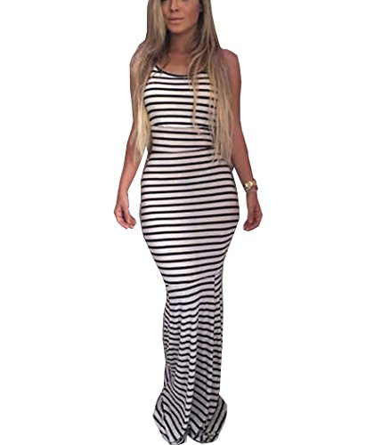 "Women Stripe Sexy Strap Backless Summer Boho Maxi Long Evening Party Dress (Medium/Bust 36.0"", Black white Stripe)"