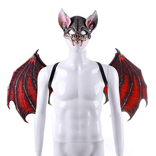Make life wonderful Fancy Dress Ball Bat Cosplay Wings & Mask Prop Halloween Costume Party Charms Role Play Accessory (Red, L) ()