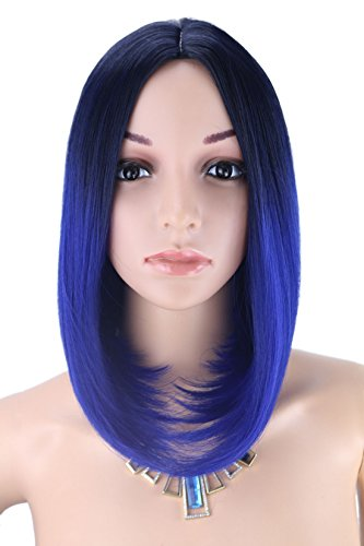[Kalyss Women's Wig Short Bob Dark Root Wig Women's Fashion Top Quality Heat Resistant Synthetic Ombre Black to Dark Blue Hair Wigs for] (Blue Wigs For Women)