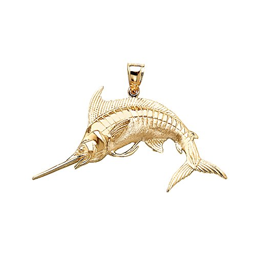 14k Yellow Gold Nautical Charm Pendant, Blue Marlin, High Polish & Satin, 2-D ()