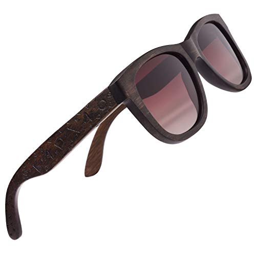 anmao Beech Wood Sunglasses with Polarized Lenses-Handmade Wooden Shades for Men & Women-Letters ()