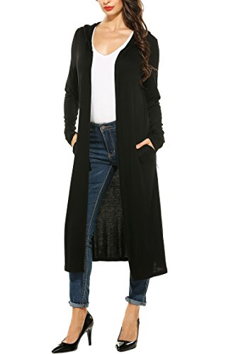 Meaneor Women's Long Sleeve Waterfall Hoodies Open Front Maxi Cardigan Sweater Black XXL