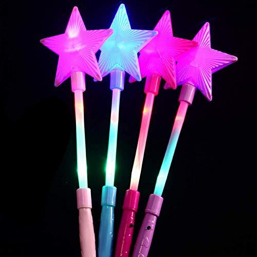 Light Up Super Star Wands For Kids LED Flash Wands Luminous Toys(4Pcs) ()