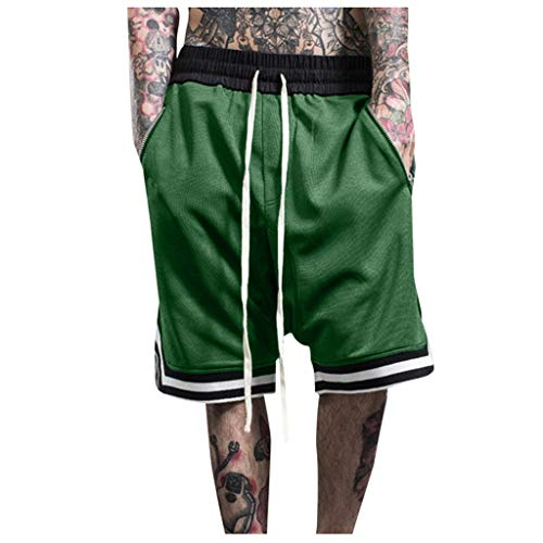 hositor Mens Workout Pants, Fashionable Men's Elastic Rope Stretch Mesh Pocket Casual Plain Sports Shorts Green ()