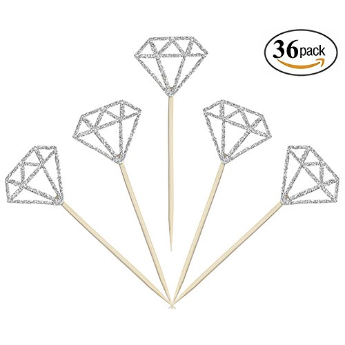 Aresmer Cupcake Toppers Silver Glitter Diamond Wedding Baby Shower Birthday Party Favors, Pack of 36