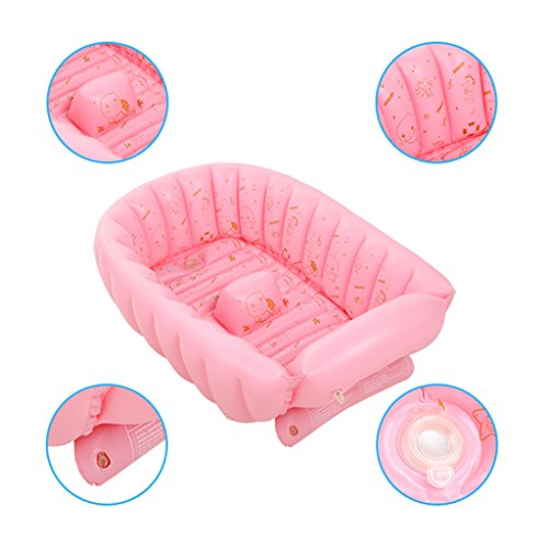 LANNA SHOP- Inflatable Baby Bathtub(For 0-5 Years), Portable Mini Air Swimming Pool Kid Infant Toddler Thick Foldable Shower Basin With Soft Cushion Central Seat (Color : Pink) by LANNA SHOP- (Image #1)