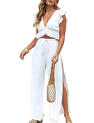 Londony ◈ Womens Two Pieces Set Outfits Deep V Neck Crop Top Side Slit Drawstring Wide Leg Pants Set Jumpsuits ()