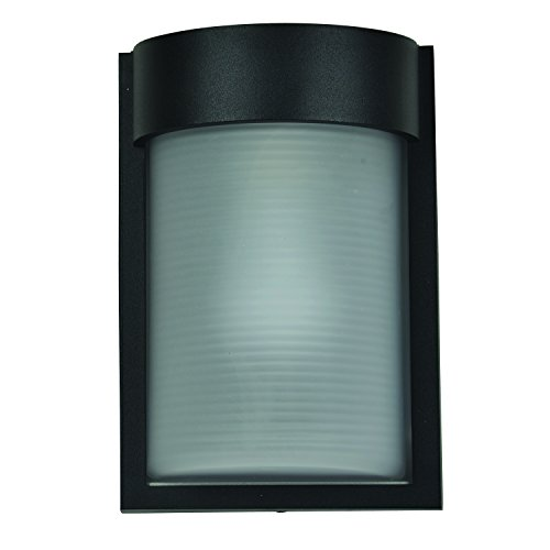 rade Outdoor Bulkhead - Black Finish - Ribbed Frosted Glass Shade ()