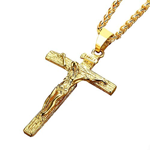 - Reizteko Stainless Steel Antique Cross Crucifix Pendant Necklace for Men 24 Inch (Gold)