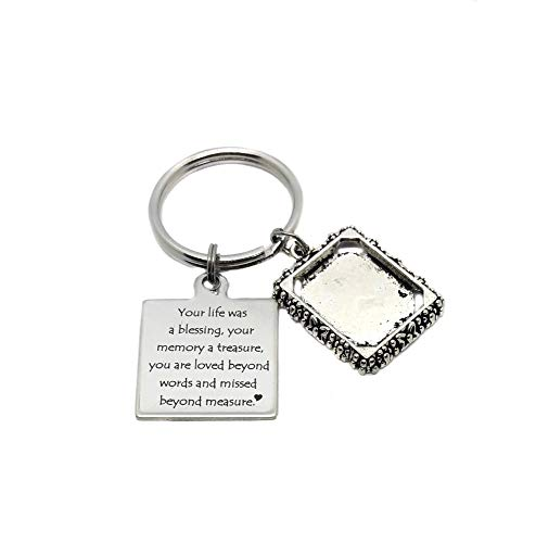 Stainless Steel Your Life was A Blessing, Your Memory A Treasure, You are Loved Beyond Words and Missed Beyond Measure Picture Frame Charm Keychain, Bag Charm, Memorial Gift