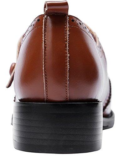 U-lite Mujeres Perforated Wingtip Brogues Cierre Vintage Snaps Cuero Plano Mary Jane Flats Zapatos Marrón