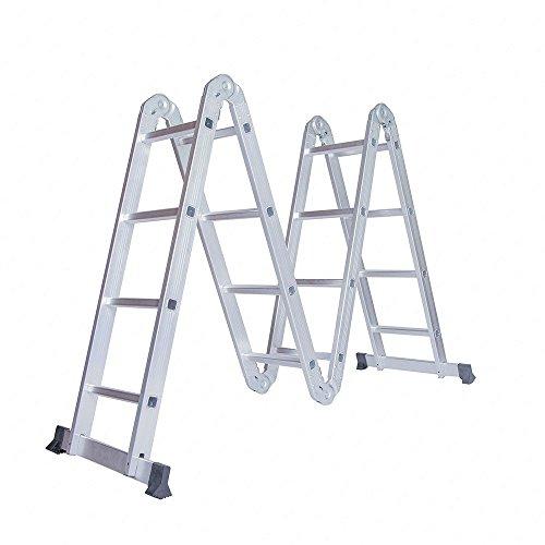 Idealchoiceproduct 15.5' Heavy Duty Gaint Aluminum Multi Purpose Folding Ladder Scaffold Ladders with 2 Platform Plates- 330Lbs by Idealchoiceproduct (Image #3)