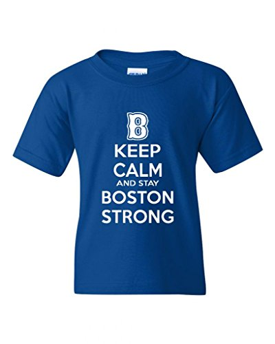 Keep Calm And Stay Boston Strong Statement Novelty Youth Kids T-Shirt Tee (X-Large, Royal Blue)