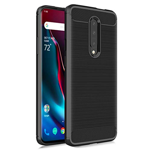 OnePlus 7 Pro Case, One Plus 7 Pro Phone Case Carbon Fiber Brushed Texture [Full-Body] Shockproof Protective 【Anti-Scratch&Anti-Slip&Anti-Dropping】 Cover for Men/Women/Boys/Girls, Black