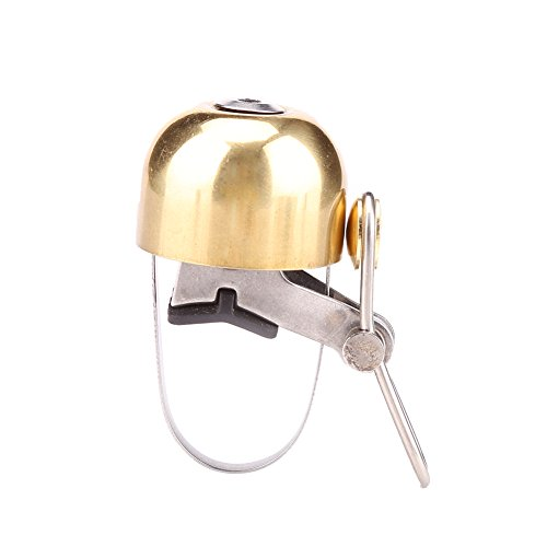 Handlebar Copper Double - Vbestlife Bicycle Bell Bike Handlebar Bell 4 Colors Mini Copper Alloy Ding-Dong Bike Bicycle Bell Double-Ring Loud Crisp Clear Sound Bike Ring Horn Accessories (Gold)