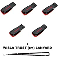 5 Pack - SanDisk Cruzer Blade 4GB USB 2.0 Flash drive- SDCZ50-004G in Frustration Free Packaging+ Bonus Wisla Trust (TM) Lanayrd