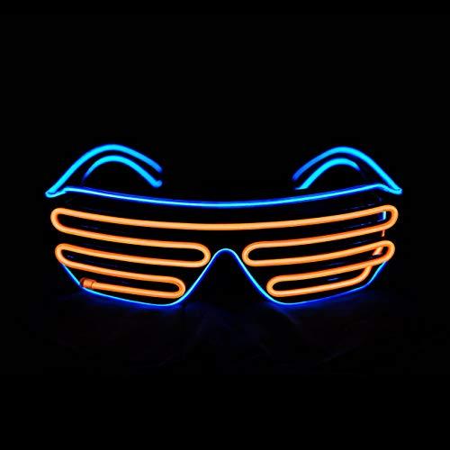 LERWAY Black Frame Neon El Wire LED Light Up Shutter Glasses Two Colors+ Standard Controller (Orange + Blue)