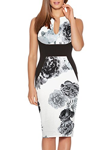 - Haogo Womens V Neck Sleeveless Floral Print Bodycon Cocktail Party Pencil Dress White Medium